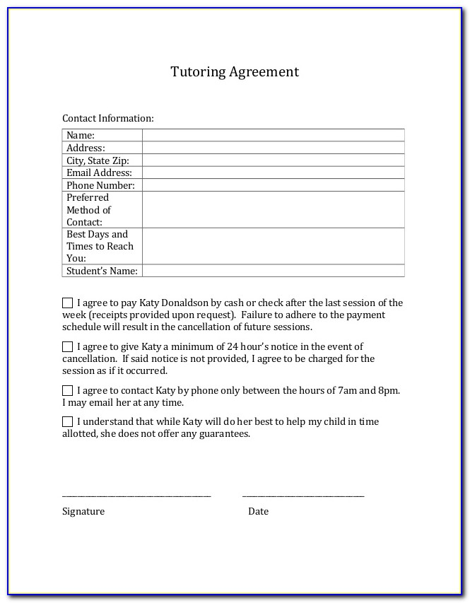Sample Tutoring Contract Template
