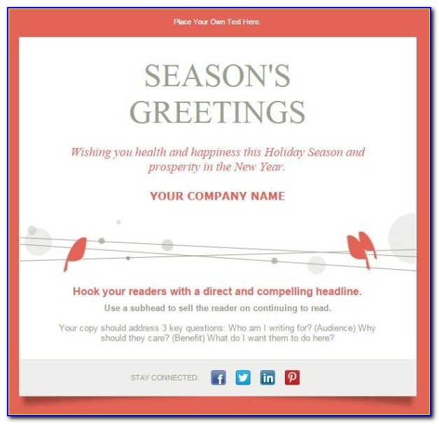 Seasons Greetings Email Template Free