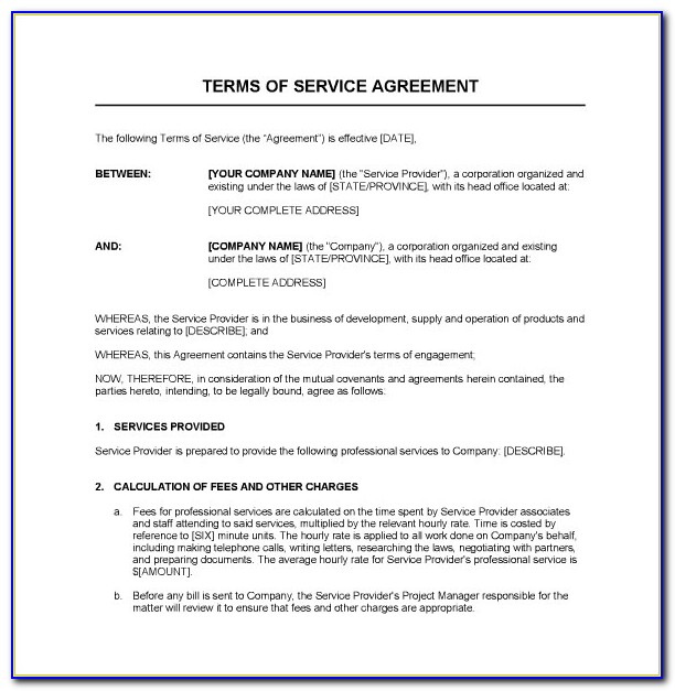 Service Contract Sample Pdf