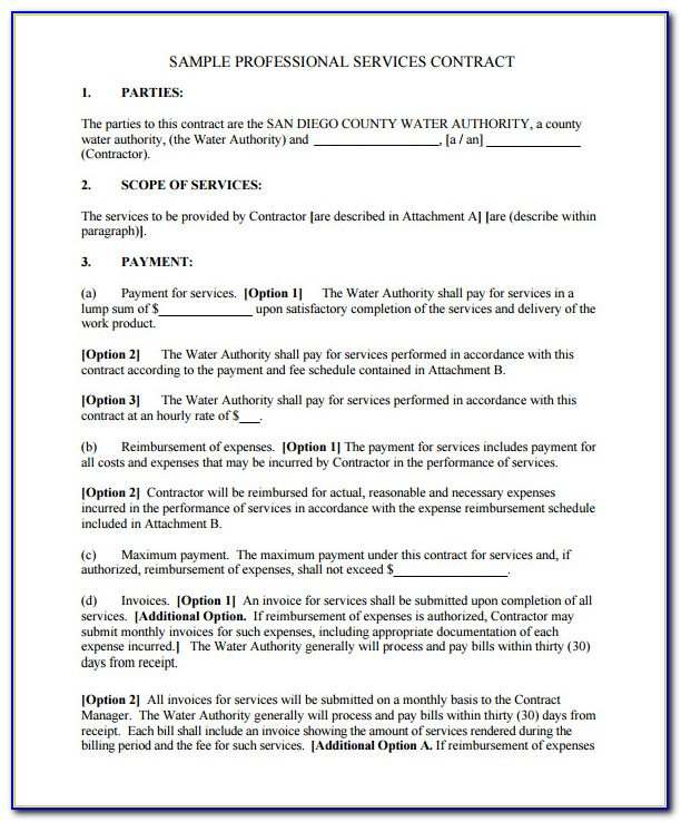 Service Contract Template Pdf