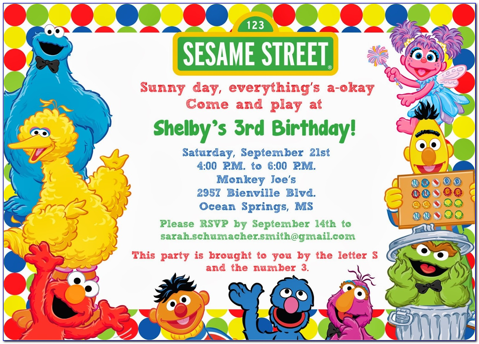Sesame Street Birthday Party Invitation Templates