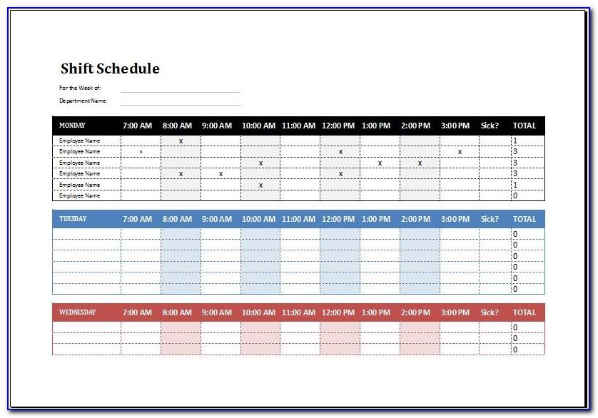 Shift Work Calendar Template 2019