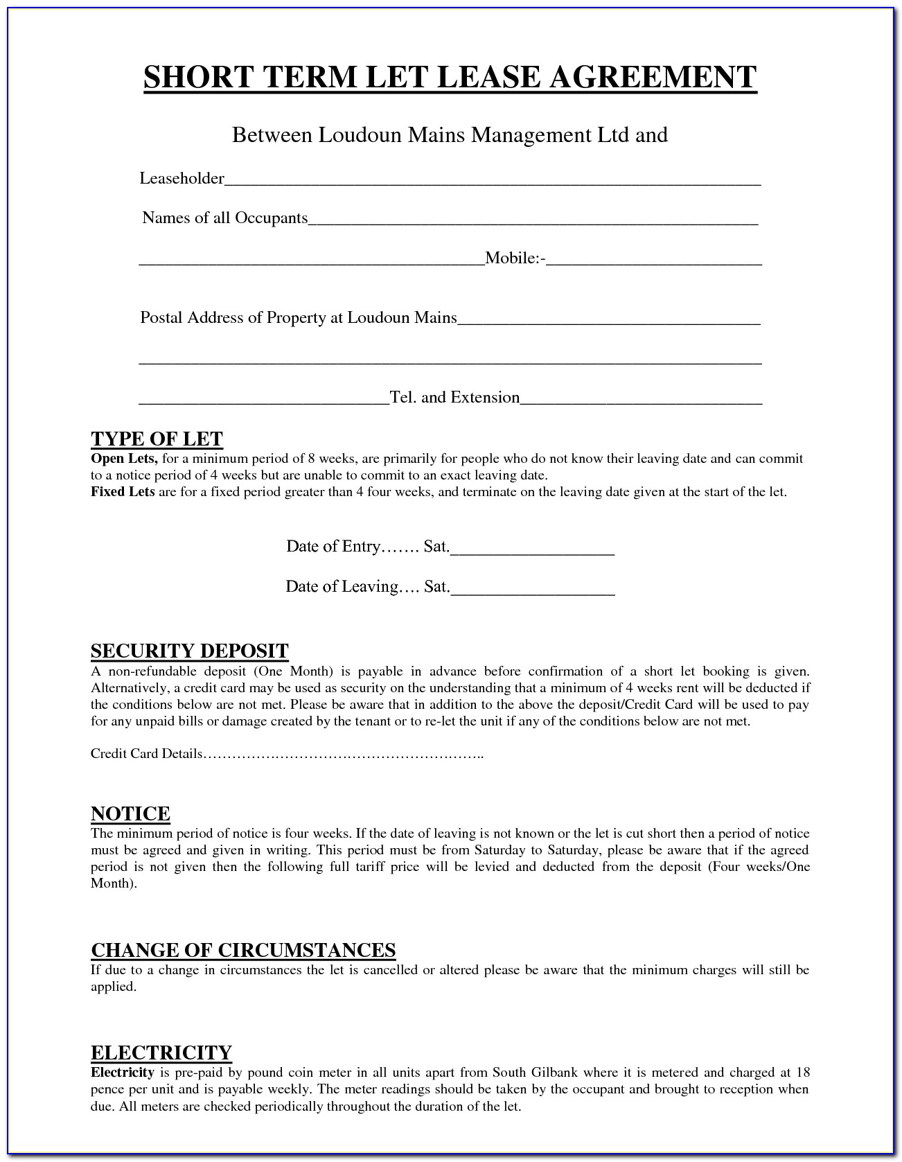 Short Term Lease Agreement Template Free