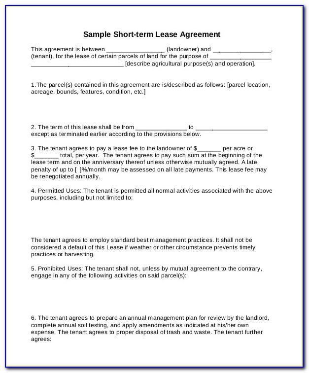 Short Term Rental Agreement Template Free