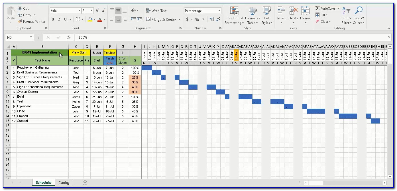 Simple Excel Gantt Chart Templates