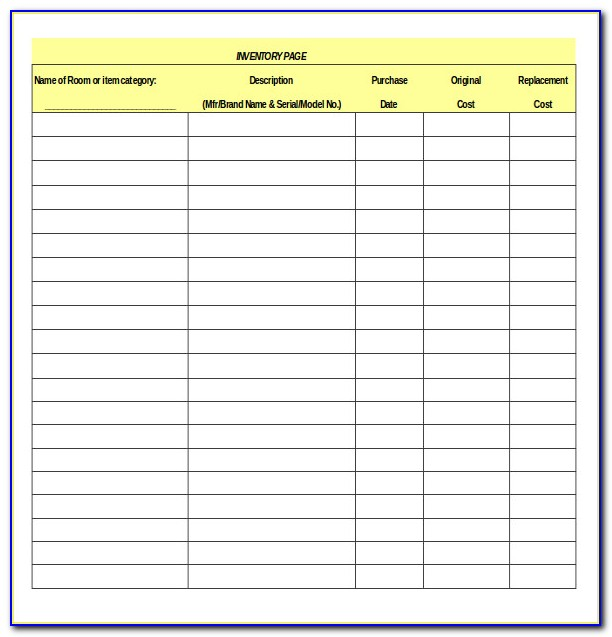 Simple Inventory Checklist Template