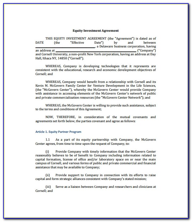 Simple Investment Agreement Template Free