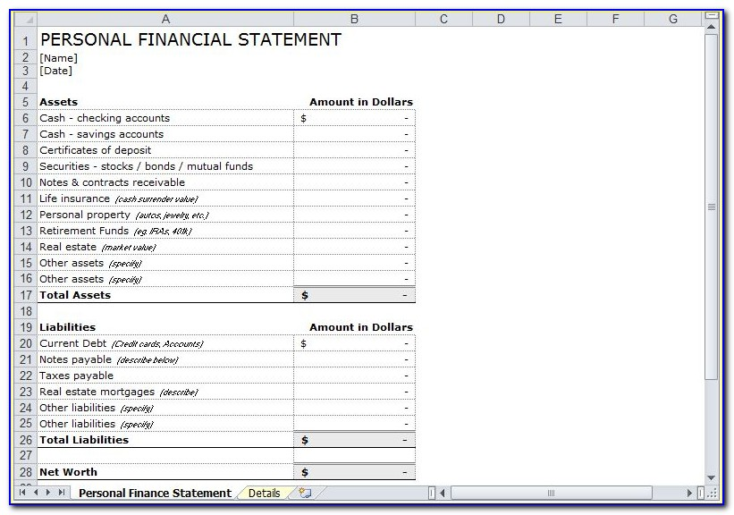 Simple Personal Financial Statement Template Excel