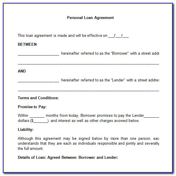 Simple Personal Loan Agreement Template Uk