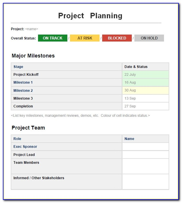 Simple Project Plan Template Microsoft Word