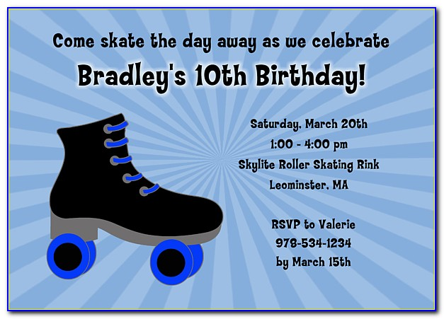 Skating Birthday Party Invitation Template