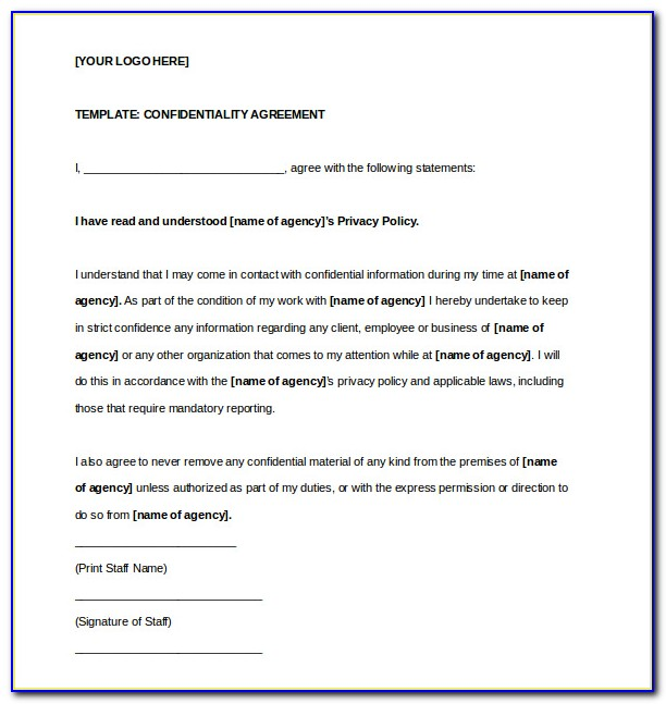 Small Business Confidentiality Agreement Template