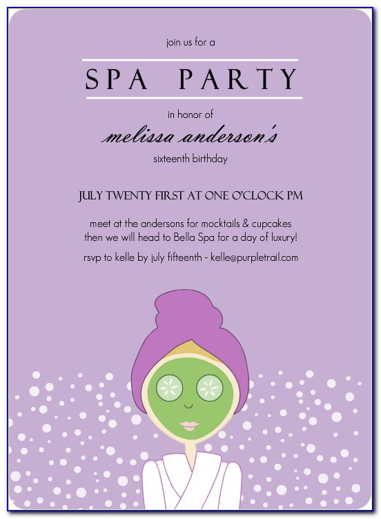 Spa Party Invitation Templates