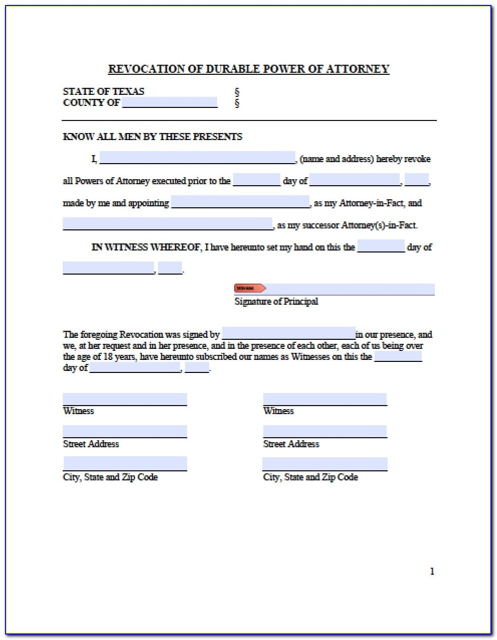 Special Power Of Attorney Texas Template
