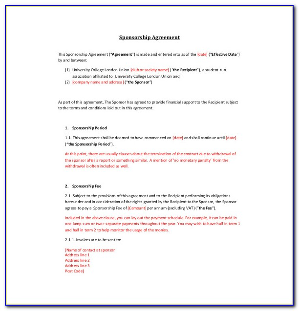 Sponsorship Agreements Template