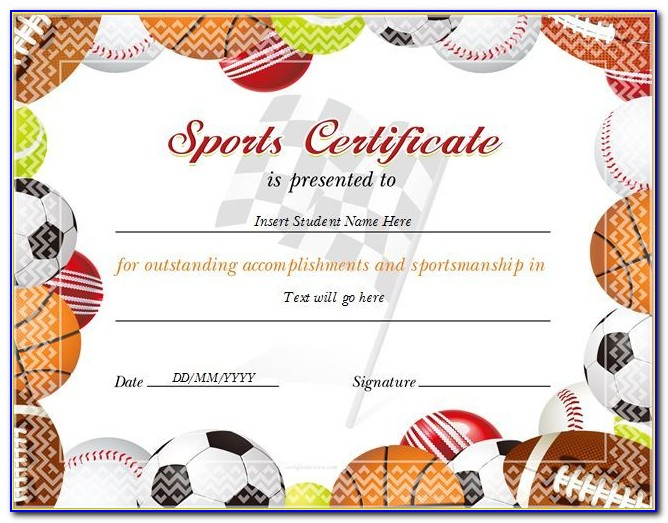 Sports Award Certificate Template Free