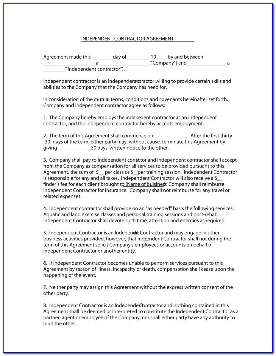 Standard Contract Template For Contractors