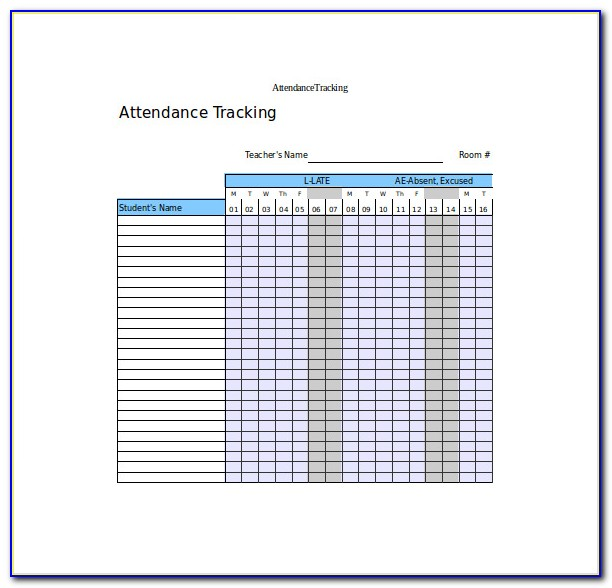 Student Attendance Tracker Excel Template
