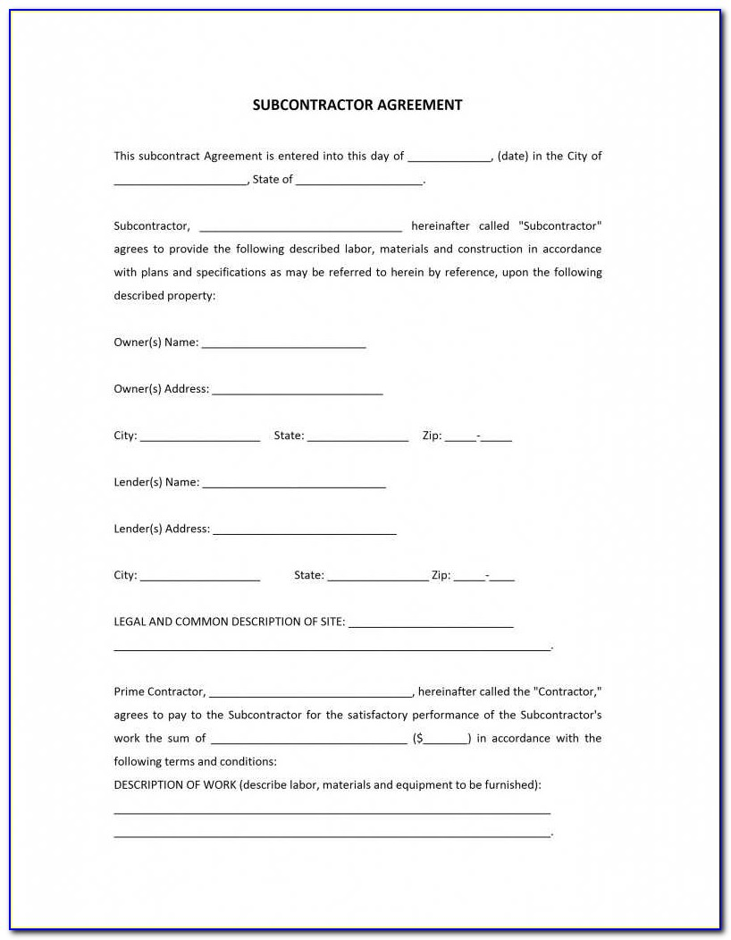 Subcontractor Agreement Template Doc