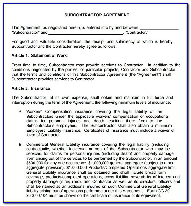 Subcontractor Agreement Template Free Download