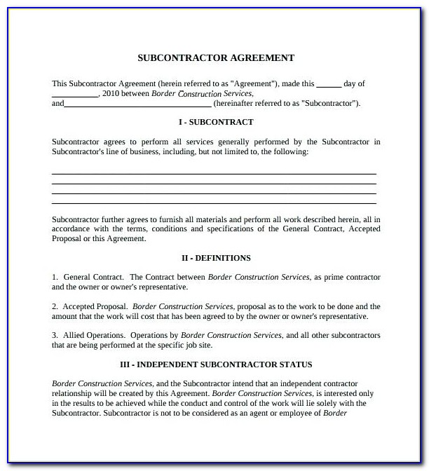 Subcontractor Agreement Template South Africa