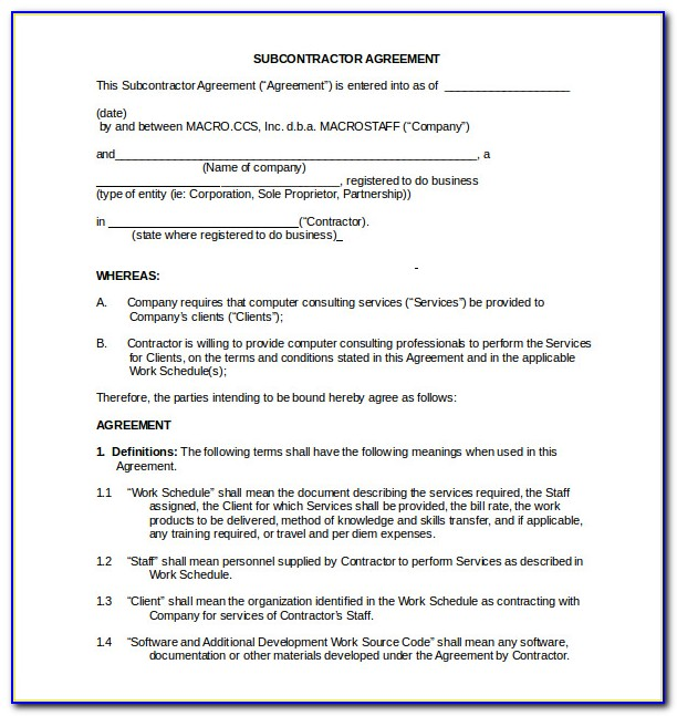 Subcontractor Agreement Template Uk