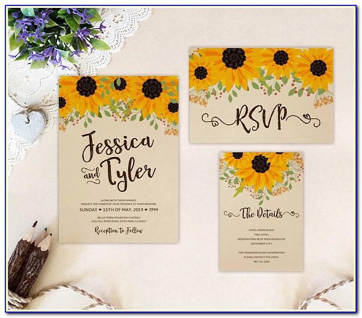 Sunflower Wedding Invitations Template Download