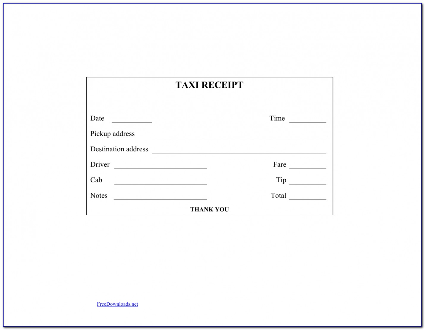 Download Blank Printable Taxi/cab Receipt Template | Excel | Pdf Taxi Invoice Template
