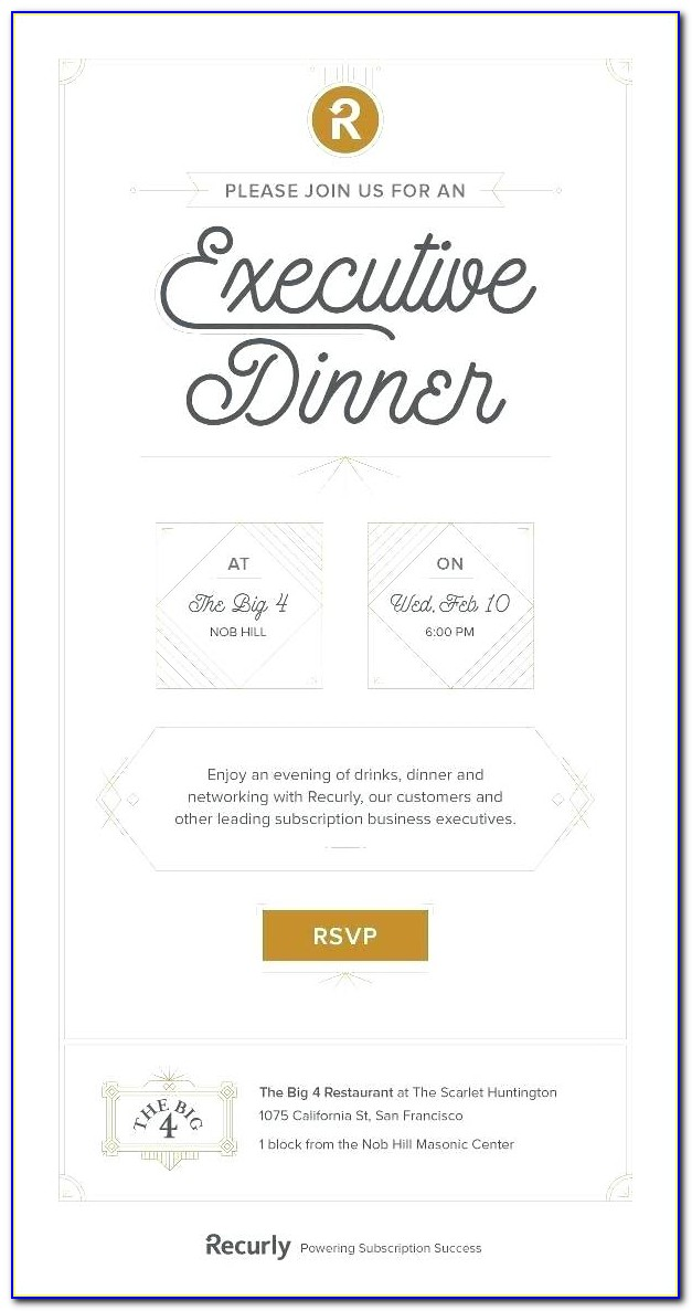Team Dinner Invitation Email Template