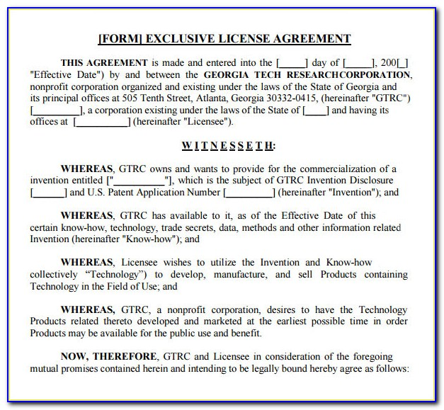 Technology License Agreement Example
