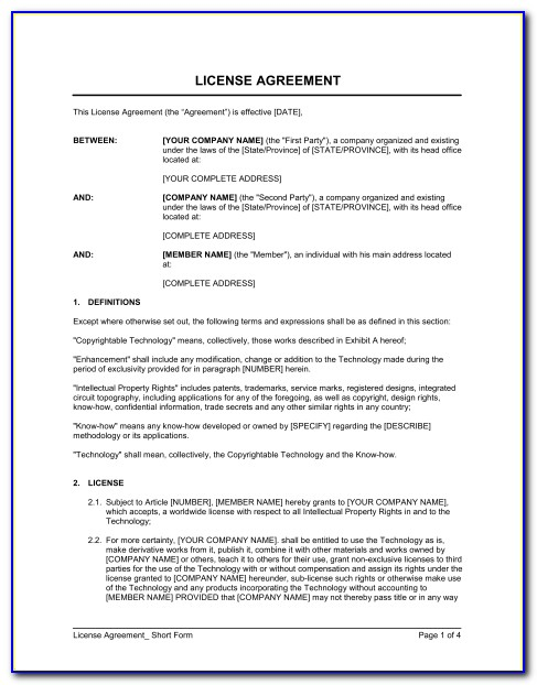 Technology License Agreement Template
