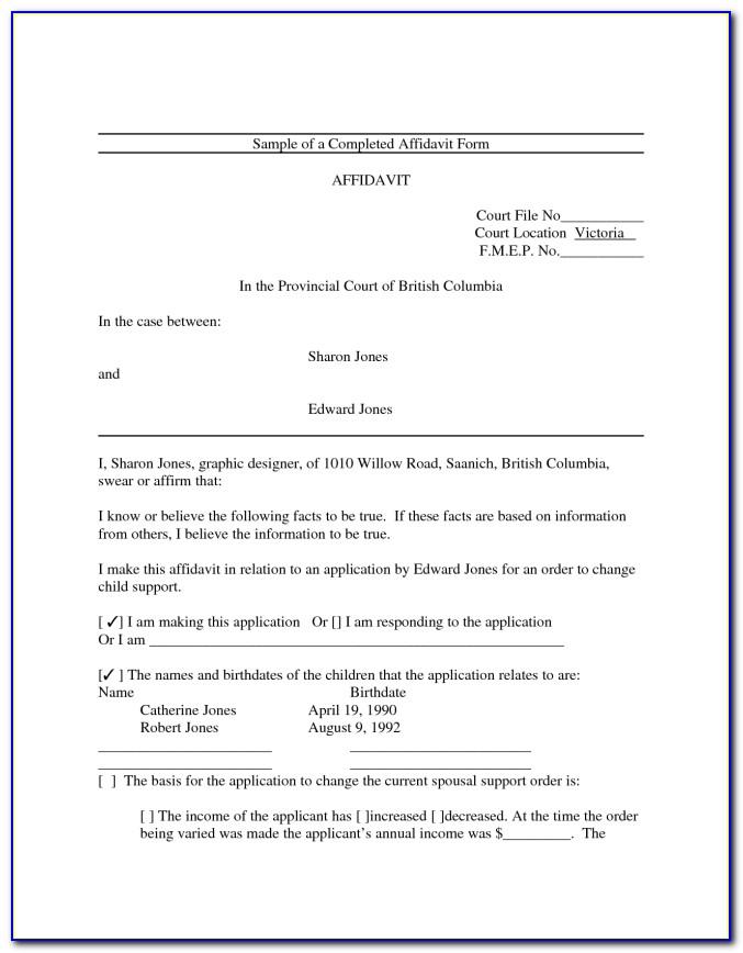 Template Affidavit Of Loss