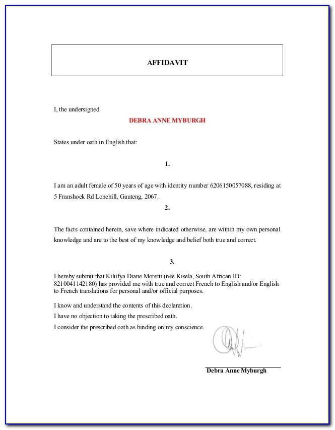 Template Affidavit Qld