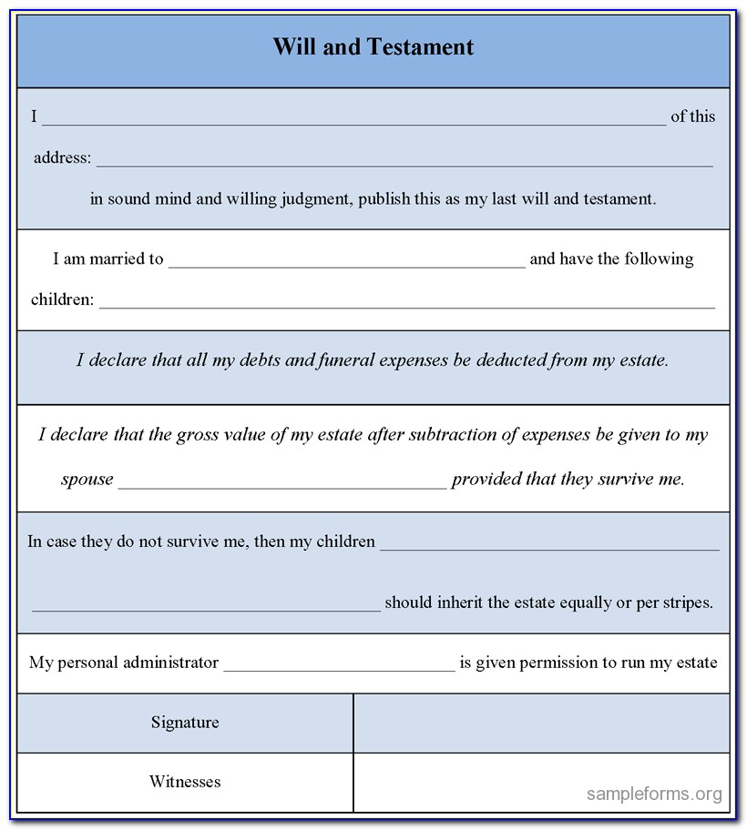 Template For Diy Wills