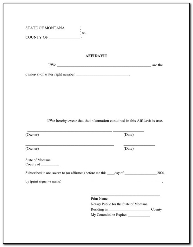 Template Of Affidavit For Immigration