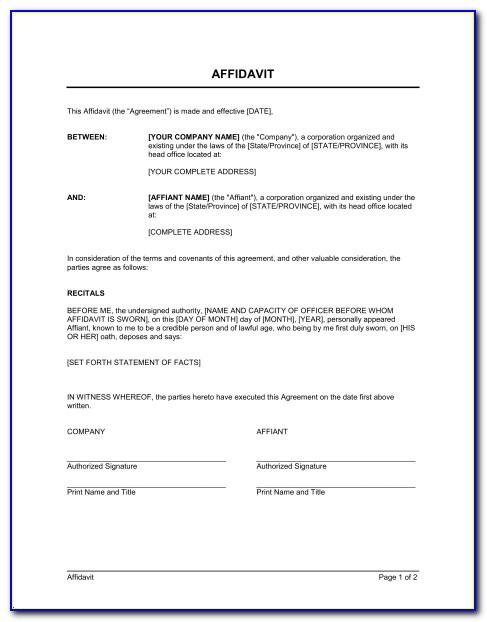 Template Of Affidavit Marriage