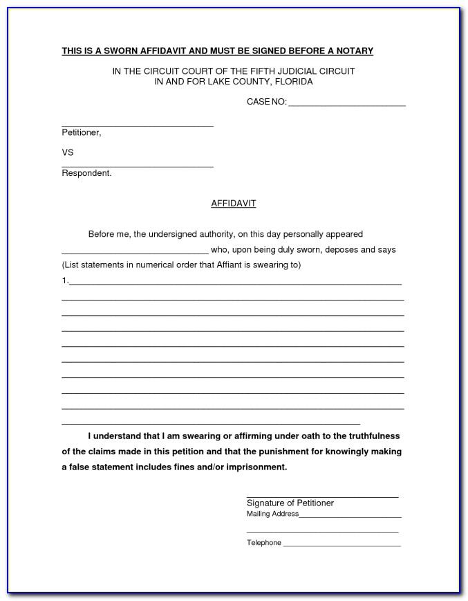 Template Of Affidavit South Africa