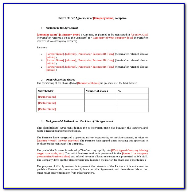 Template Shareholders Agreement Ireland