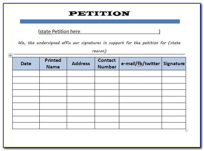 Templates For Petition Letter