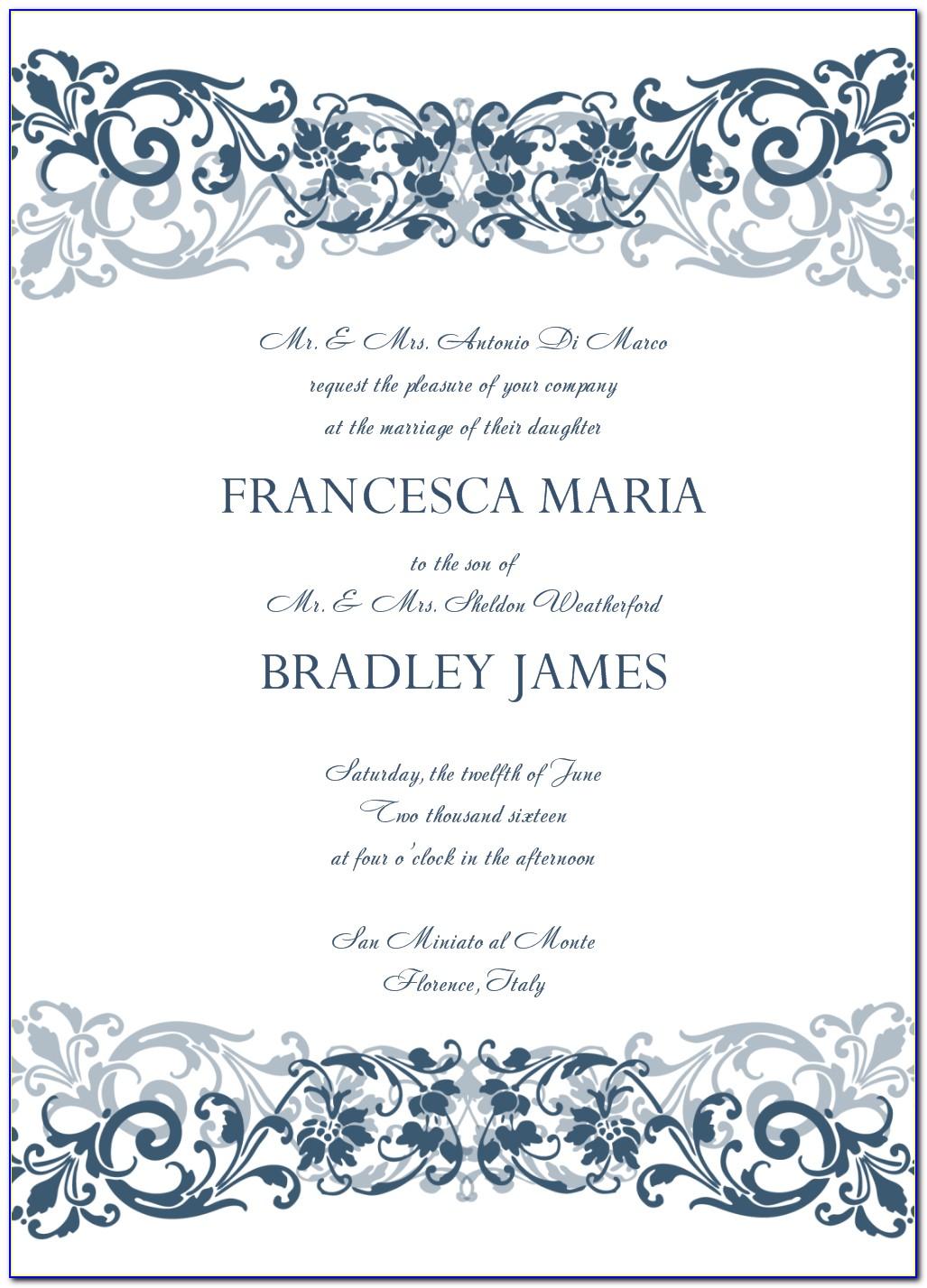 Templates For Wedding Invitations Wording