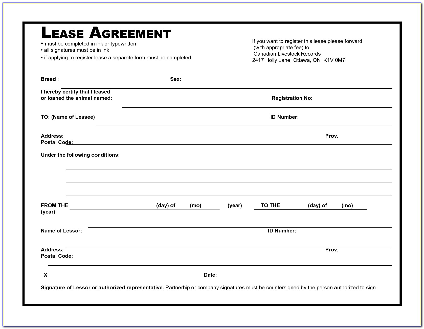 Tenant Contract Template Canada