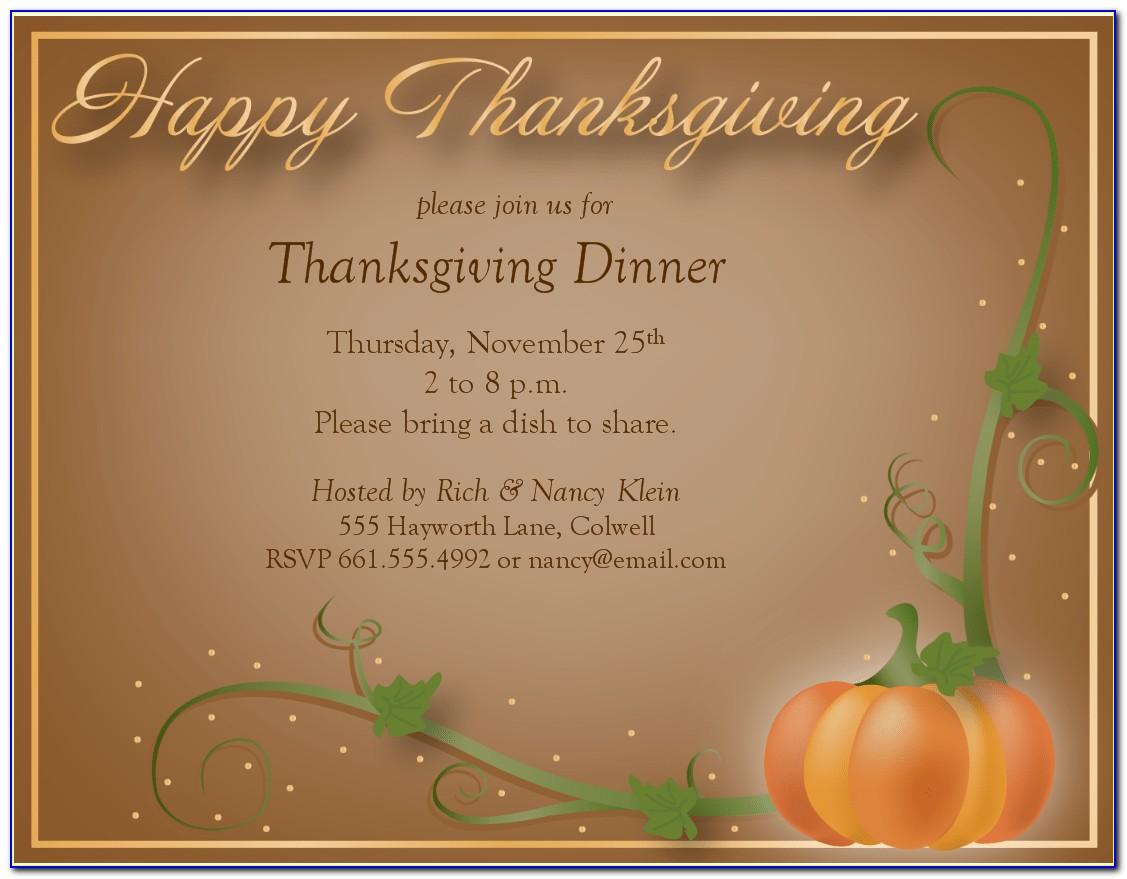 Thanksgiving Dinner Invitation Wording