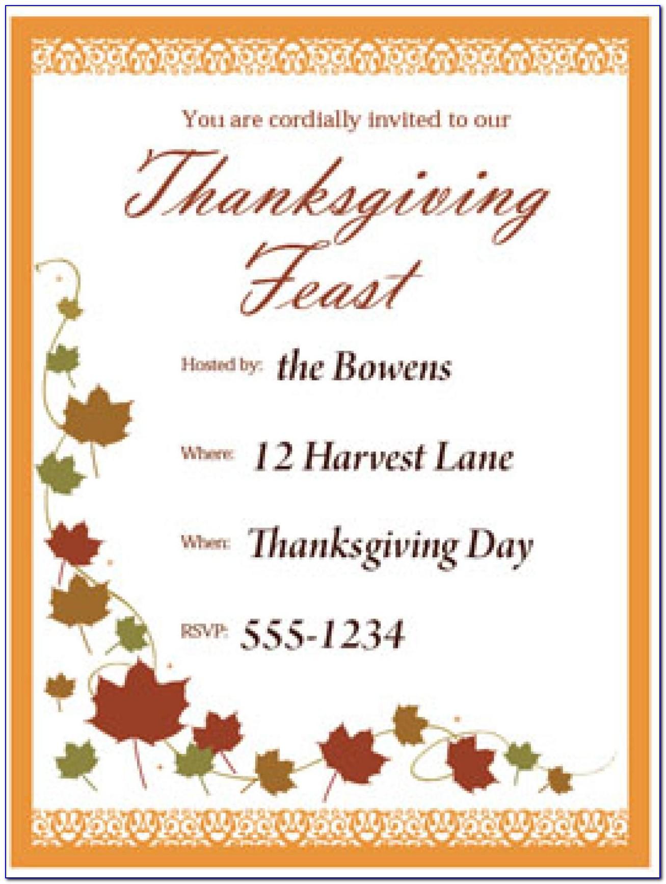 Thanksgiving Family Dinner Invitation Wording