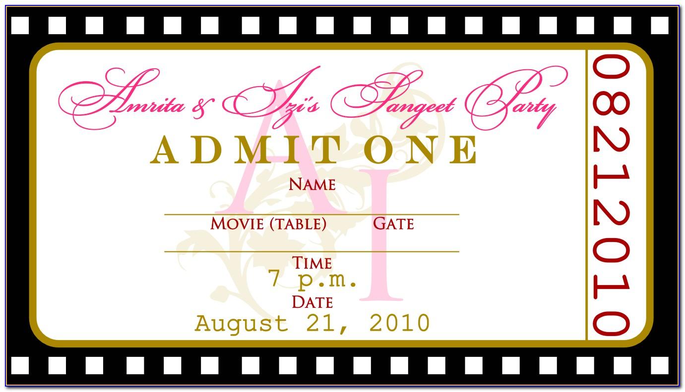 Ticket Style Wedding Invitation Templates