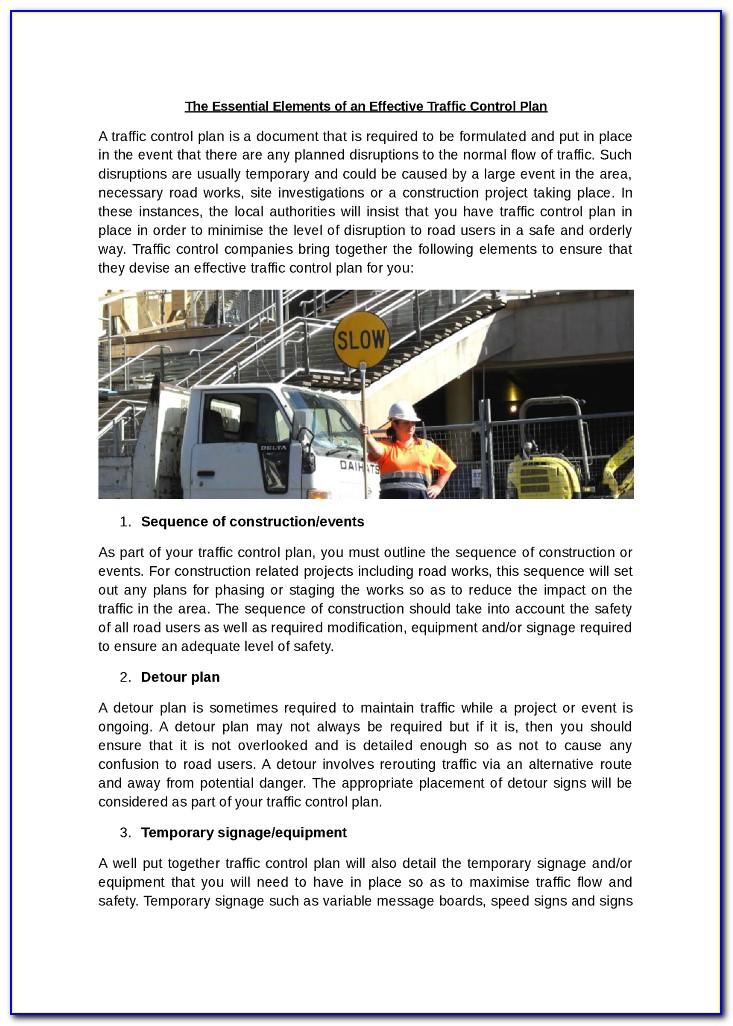 Traffic Control Plan Form