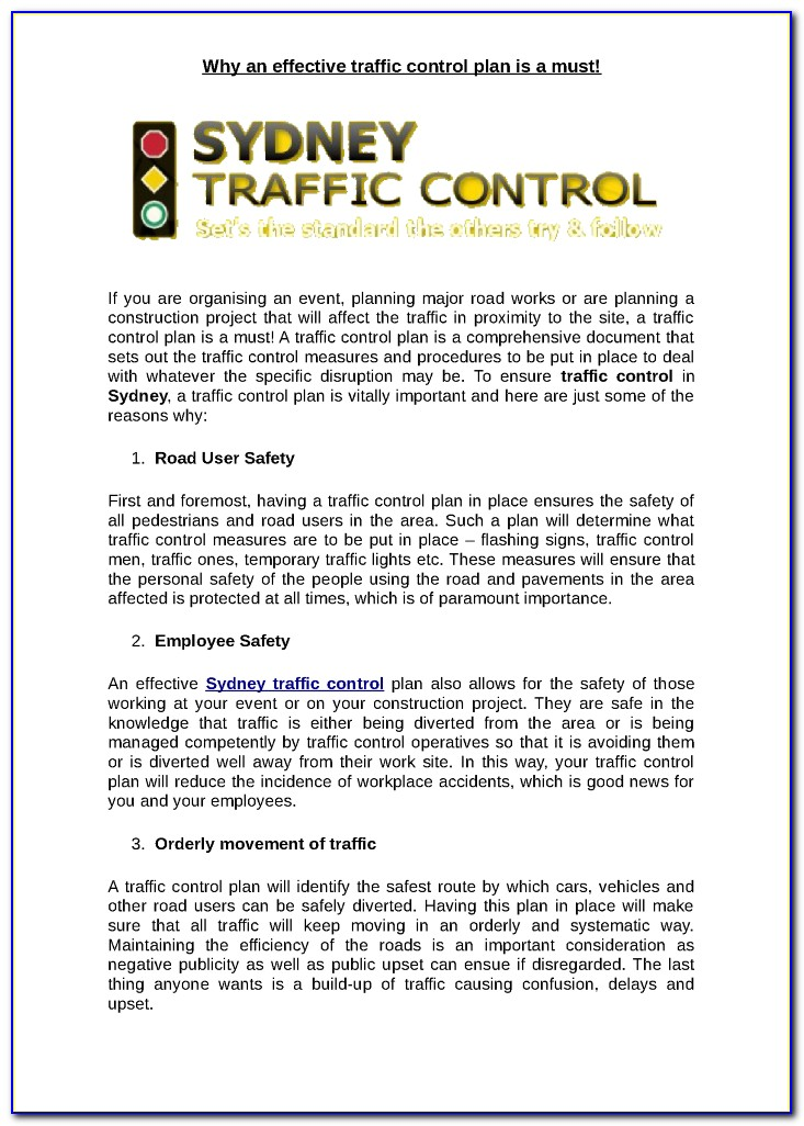 Traffic Control Plan Template Washington State