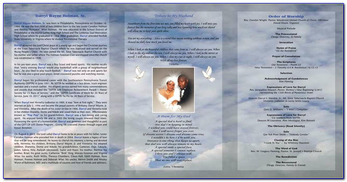 Tri Fold Funeral Program Template Word