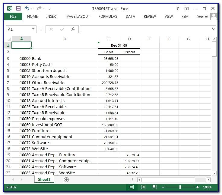 Trial Balance Sheet Template Download