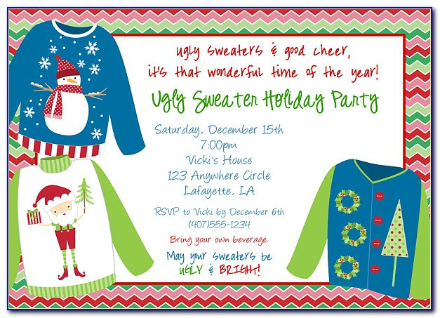 Ugly Christmas Sweater Party Invitation Templates Free