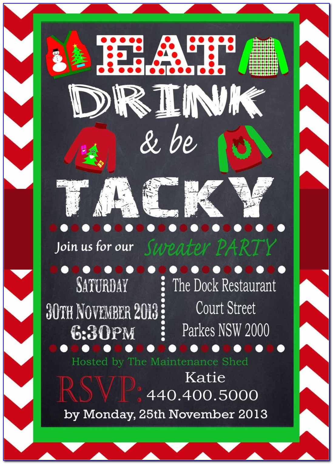 Ugly Christmas Sweater Potluck Invitation Wording